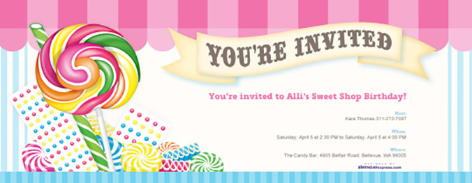 Matching Candy Shoppe invitation now available on Evite.