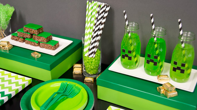 A Minecraft inspired event is a great idea for party-goers of any age.