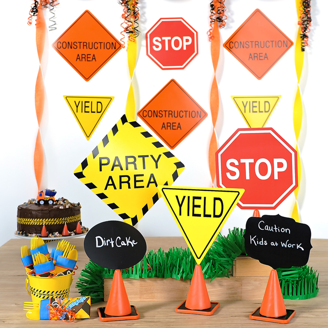 construction party ideas signs table