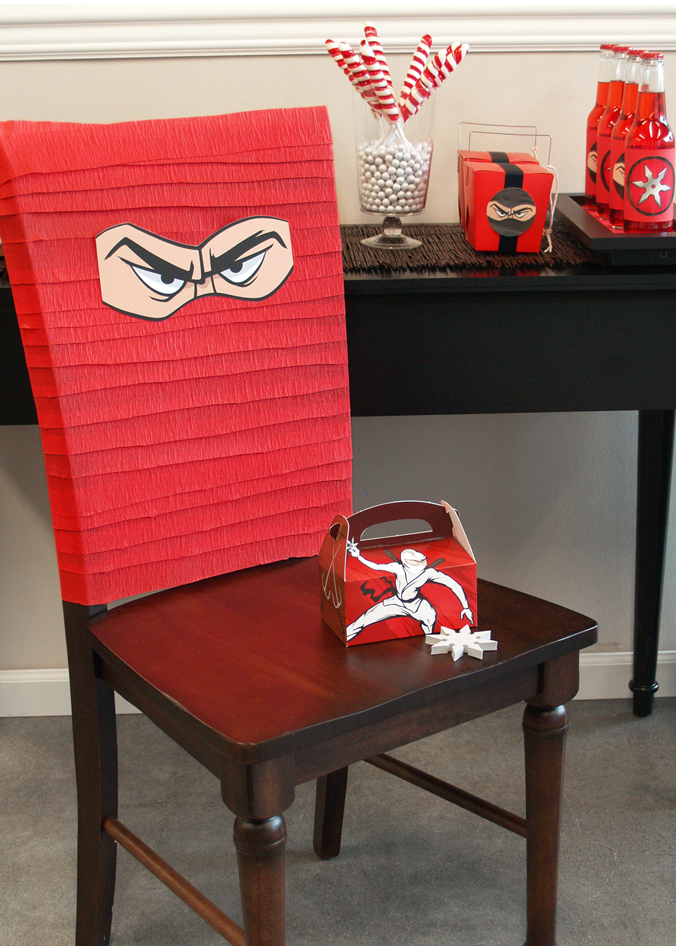 diy ninja party chair cover