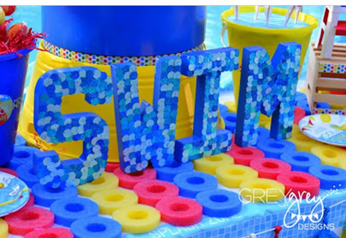 Swimming Pool Party Theme Ideas swimming pool parties pool party ideas unique pools and designs We Absolutely Love All The Diy Touches Brittany Brings To Our Party Supplies This Swim Centerpiece Is Made Of Some Blue Painted Chipboard Letters From