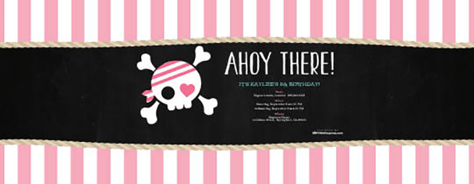 Pretty Pirate matching invitation now available on Evite.