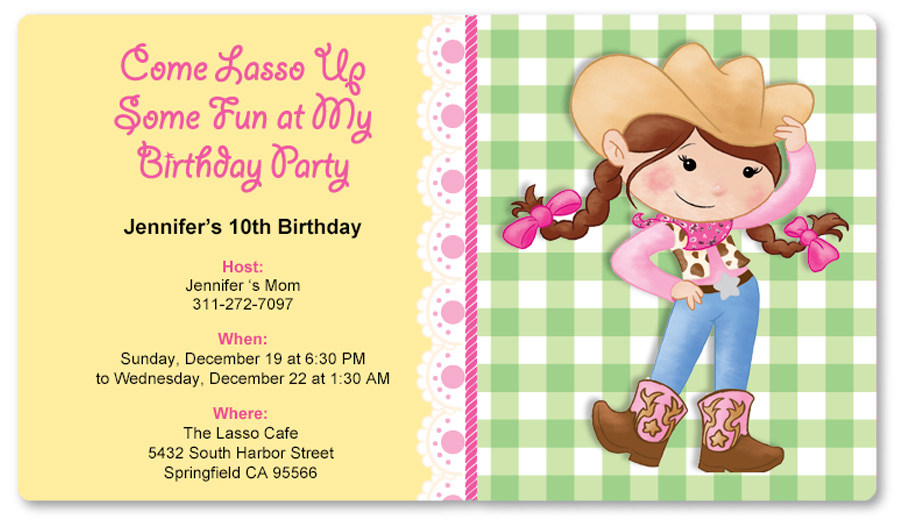 pink cowgirl birthday party | birthday express, Party invitations