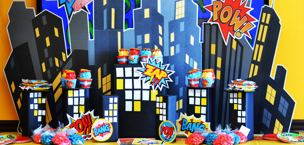 our superhero comics party the bold graphics and superhero theme make
