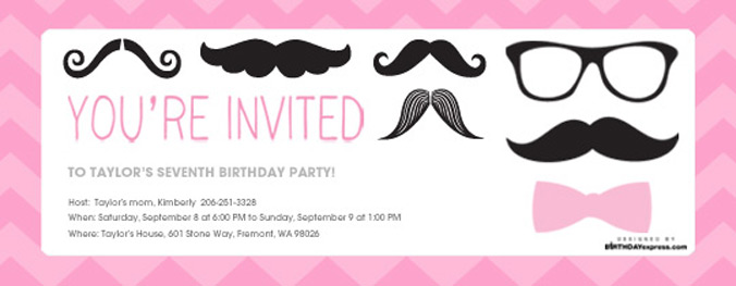 Matching Pink Mustache digital invite now available on Evite.com