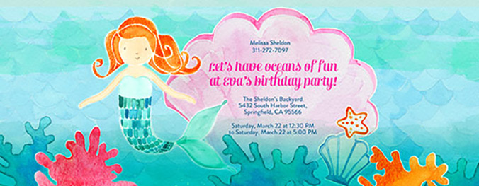 Mermaid invitation available on Evite.