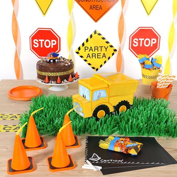 construction party ideas table decorations