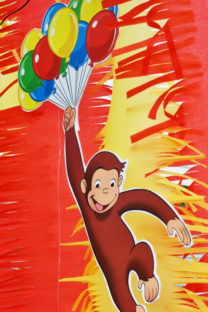 Curious george party by brittany schwaigert birthday express for Curious george wall mural